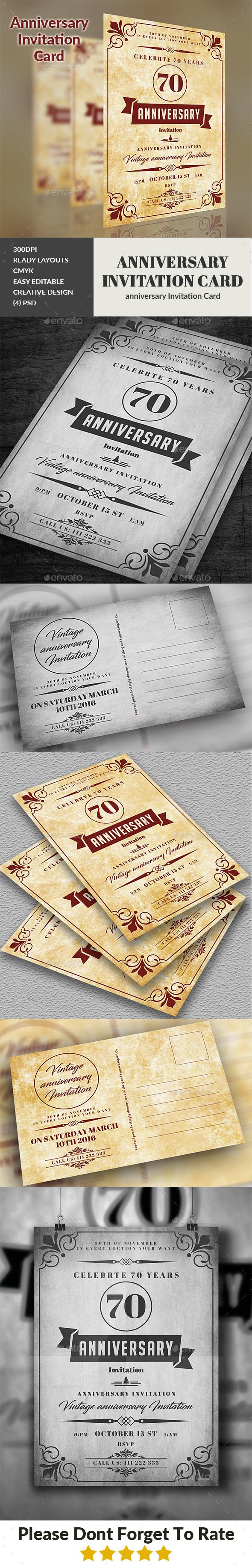 Anniversary Invitation Card - Cards & Invites Print Templates