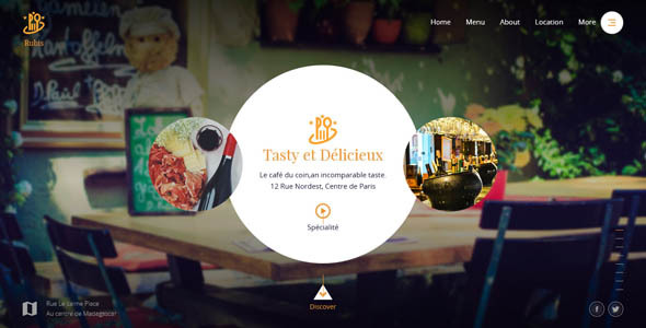 Rubis – Beautiful responsive website template for Restaurant and Food business