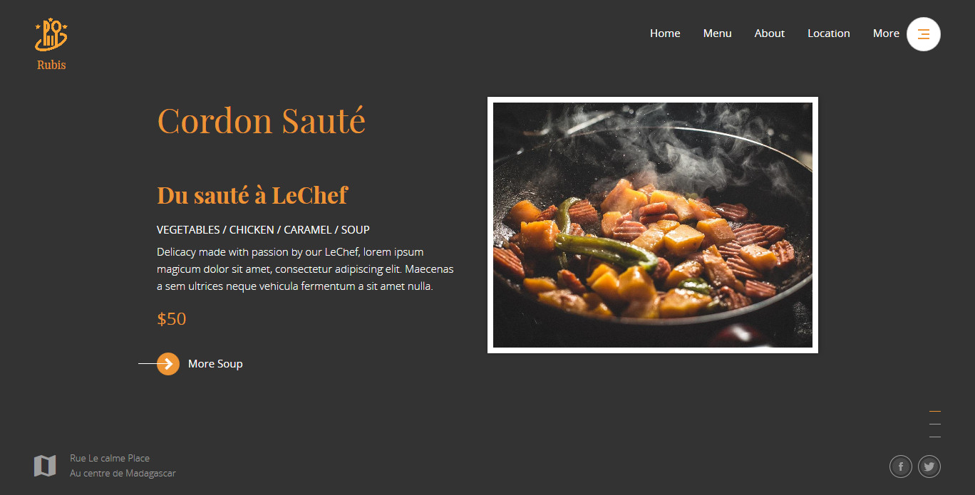 Rubis Beautiful Responsive Website Template For Restaurant And