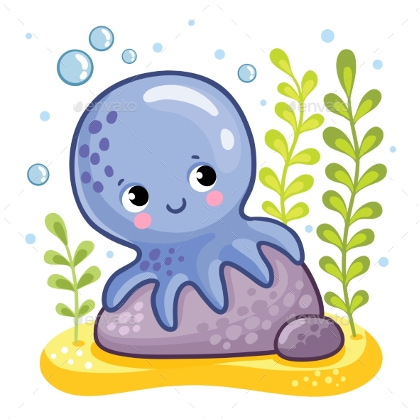 Octopus Sits on a Rock - Animals Characters