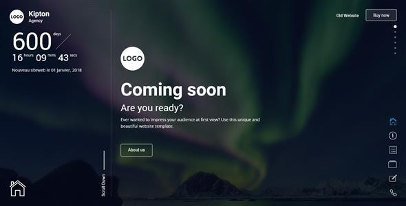 Kipton - Beautiful and Creative Website Template for Coming Soon Page - Under Construction Specialty Pages