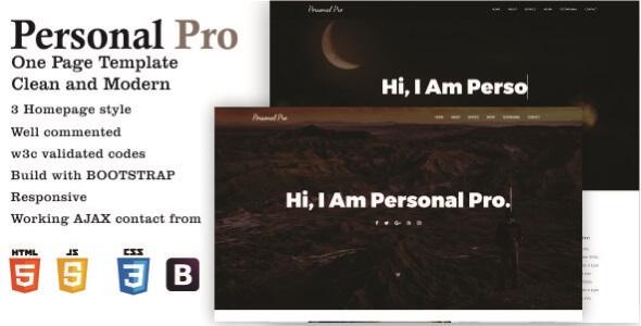 Personal Pro – One Page Portfolio Template