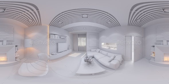 360 Render Panorama Interior Design Living Room - Architecture 3D Renders