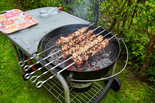 meat kebab skewers - Stock Photo - Images