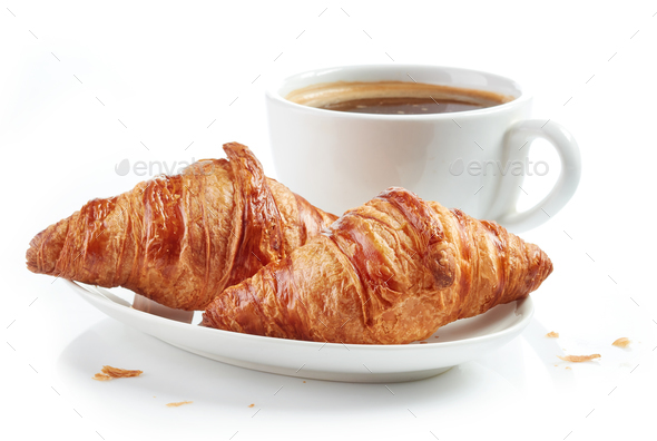 fresh croissants and coffee cup - Stock Photo - Images