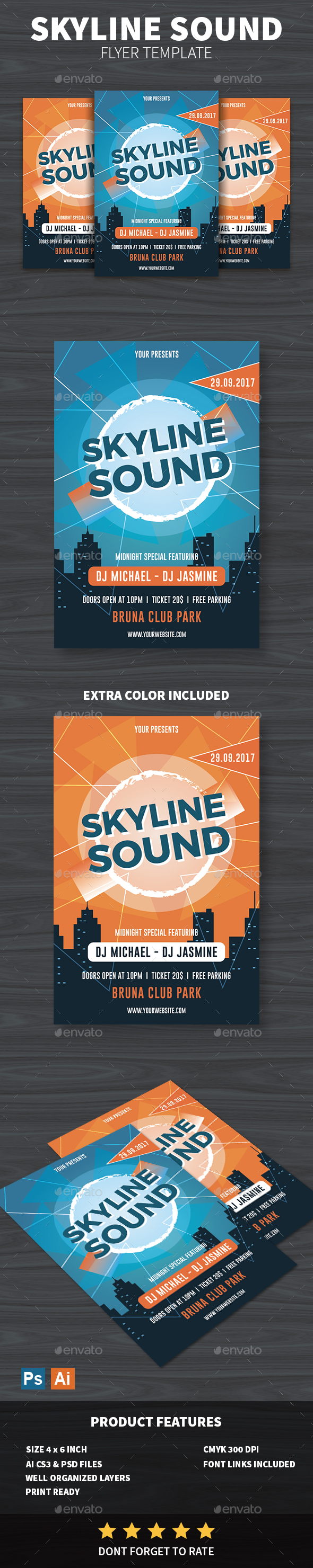 Skyline Sound Flyer - Events Flyers