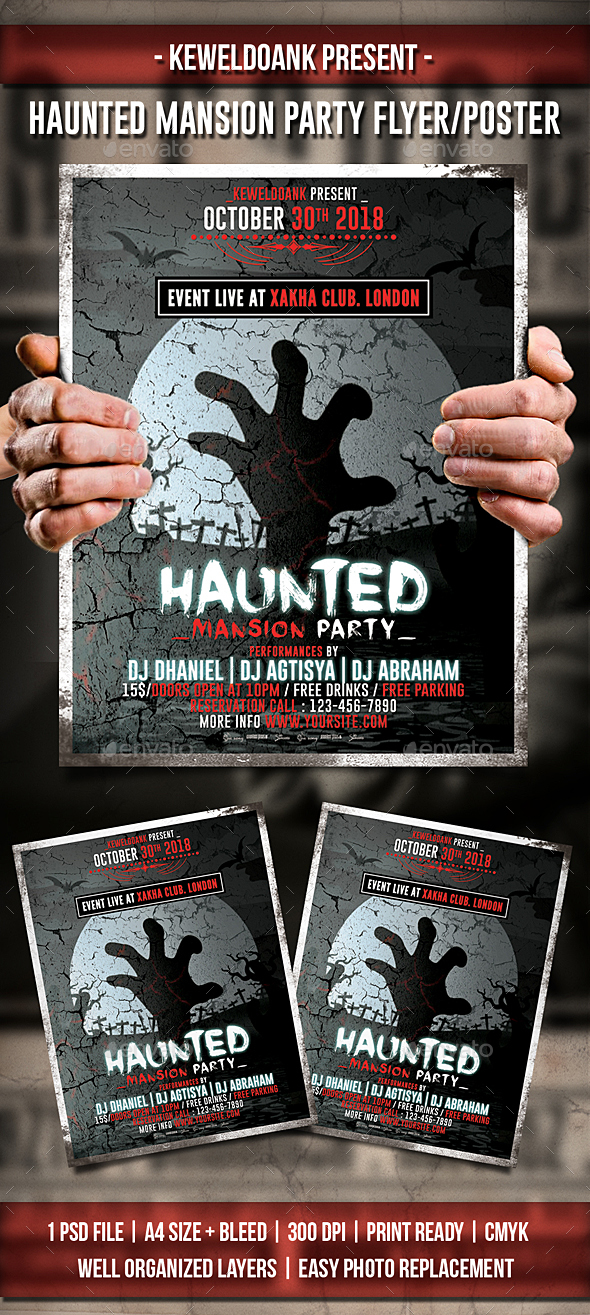 Haunted Mansion Party Flyer / Poster - Clubs & Parties Events