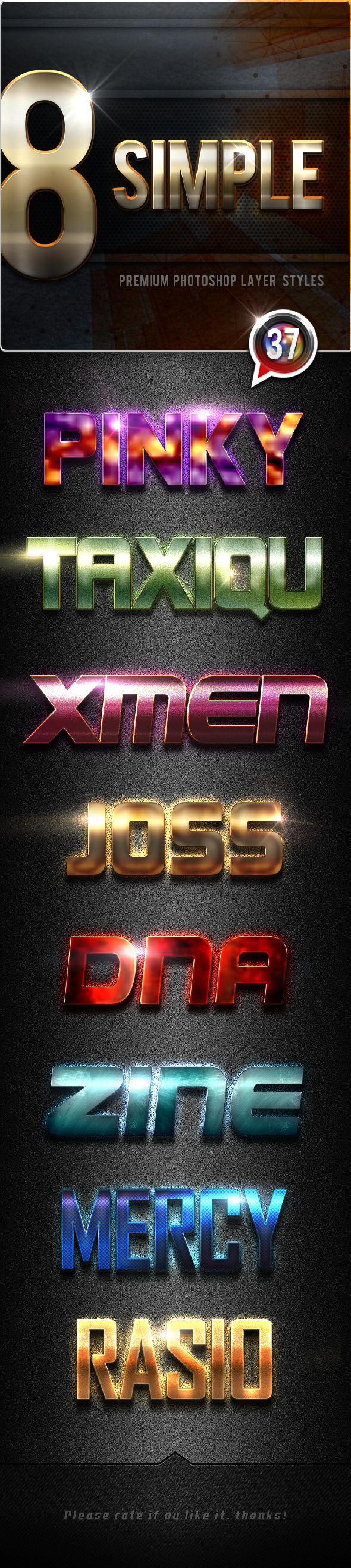 8 Simple Photoshop Text Effects Vol.37 - Text Effects Styles