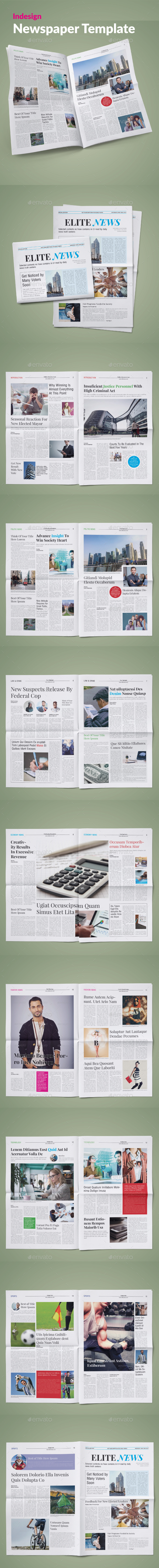 Elite News Newspaper Template - Newsletters Print Templates