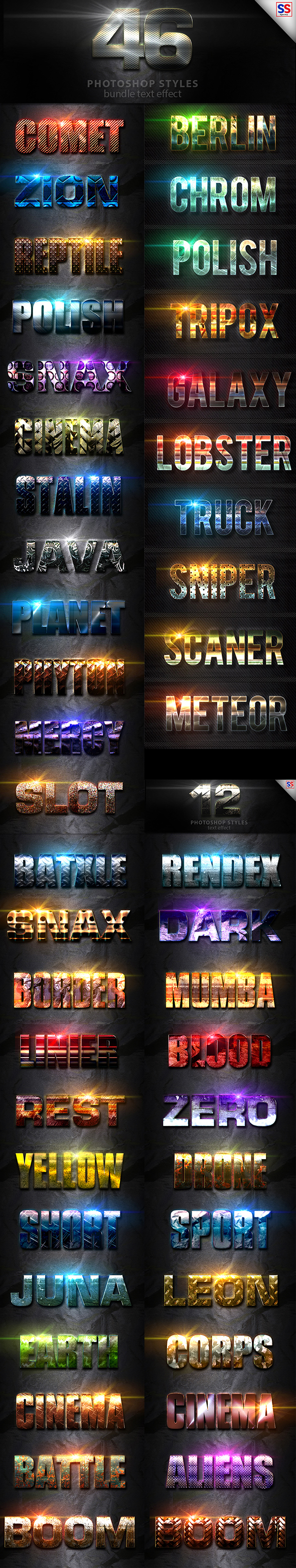 46 Text Effect Bundle Vol 1 - Text Effects Styles