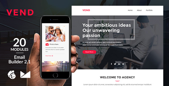 Vend Email Template + Online Emailbuilder 2.1 - Newsletters Email Templates