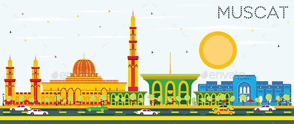 Muscat Skyline with Color Buildings and Blue Sky. - Buildings Objects
