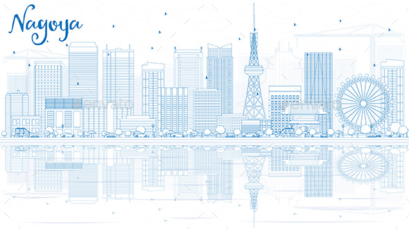 Outline Nagoya Skyline with Blue Buildings and Reflection. - Buildings Objects