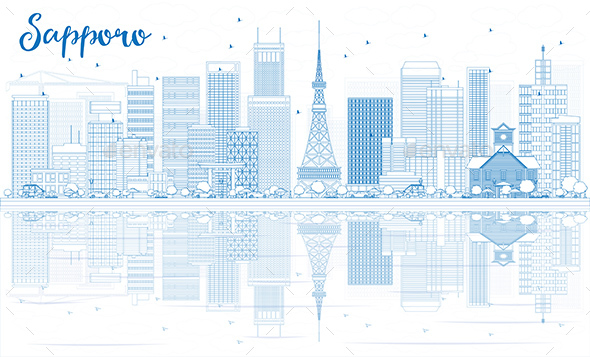 Outline Sapporo Skyline with Blue Buildings and Reflections. - Buildings Objects