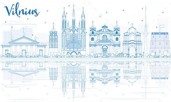 Outline Vilnius Skyline with Blue Landmarks and Reflections. - Buildings Objects