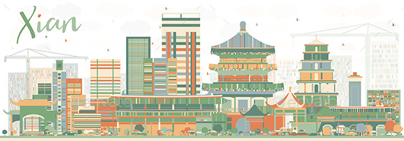 Abstract Xian Skyline with Color Buildings. - Buildings Objects