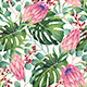 Watercolor Tropical Flowers Pattern - GraphicRiver Item for Sale