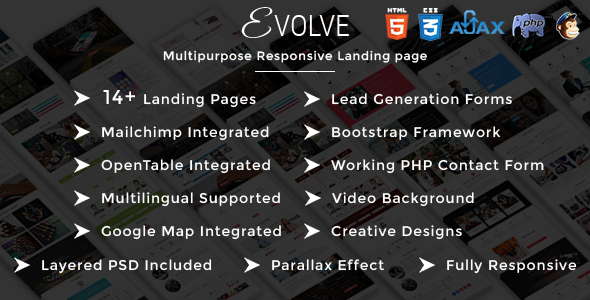 EVOLVE - Multipurpose Responsive HTML Landing Pages - Landing Pages Marketing