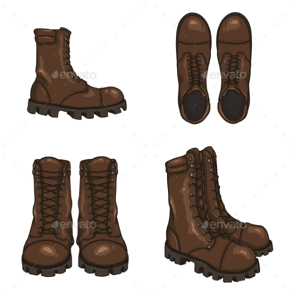 Set of Vector Cartoon Army Boots - Man-made Objects Objects