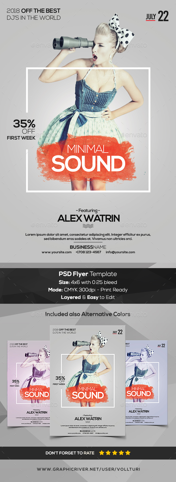 Minimal Sound - PSD Flyer Template - Flyers Print Templates