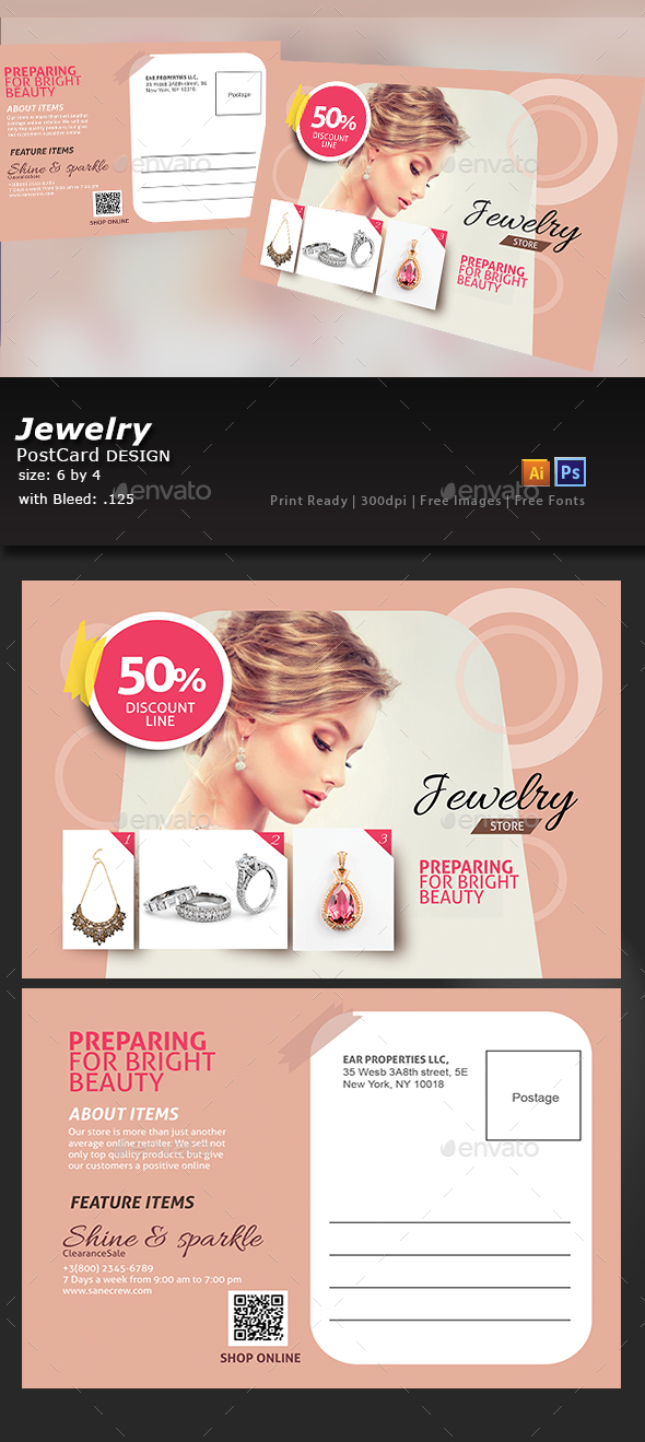 Jewelry Store Post Card - Flyers Print Templates