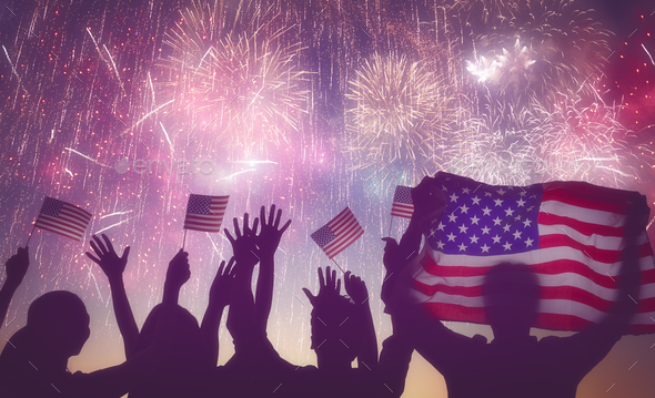 people holding the Flag of USA - Stock Photo - Images
