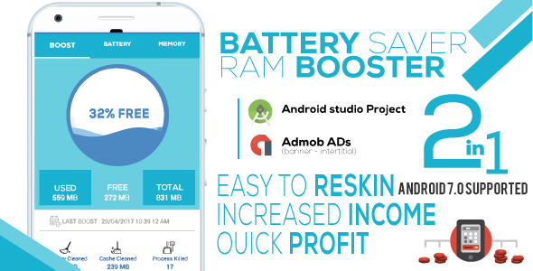 Battery Saver & RAM Booster Pro + Admob - CodeCanyon Item for Sale
