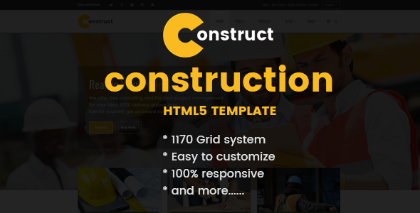 Construction, Building Business HTML Template