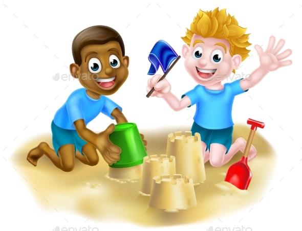 Cartoon Boys on the Beach - People Characters