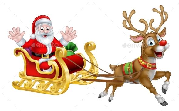 Christmas Cartoon Santa and Reindeer Sleigh - Seasons/Holidays Conceptual