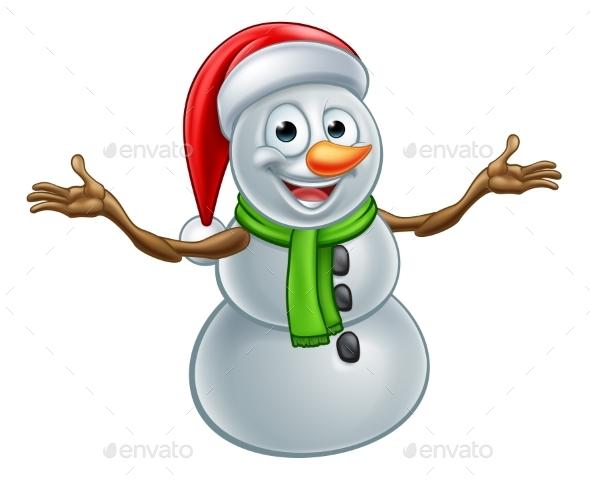 Cartoon Christmas Santa Hat Snowman - Christmas Seasons/Holidays