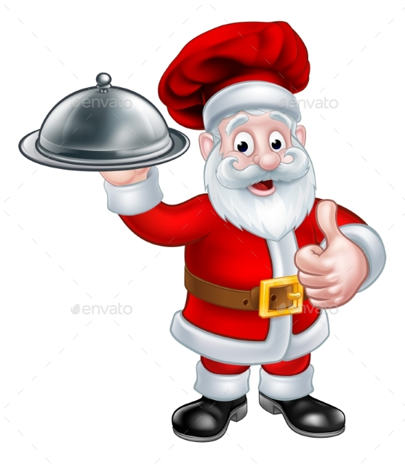 Santa Christmas Chef Holding Plate of Food - Food Objects