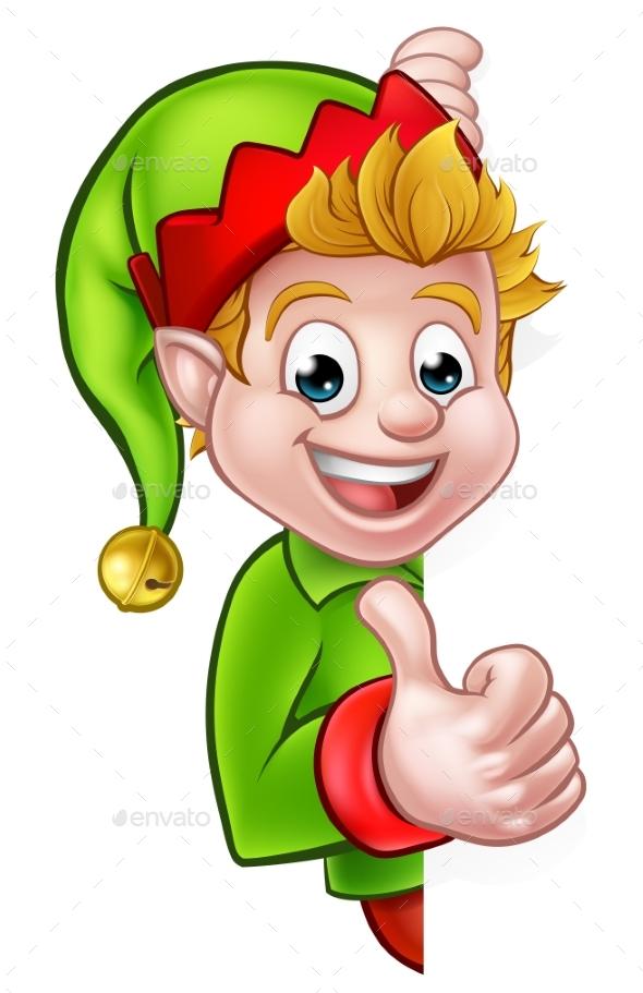 Thumbs Up Christmas Elf Cartoon Character - Christmas Seasons/Holidays