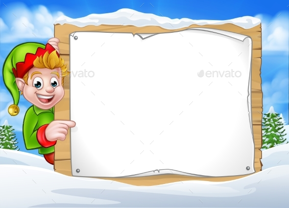Winter Scene Christmas Pixie Elf Sign - Christmas Seasons/Holidays