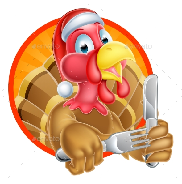 Turkey Bird in Santa Hat Holding Knife and Fork