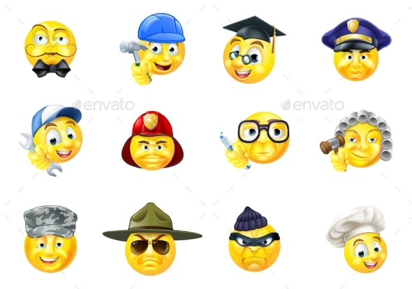 Jobs Occupations Work Emoji Emoticon Set - People Characters