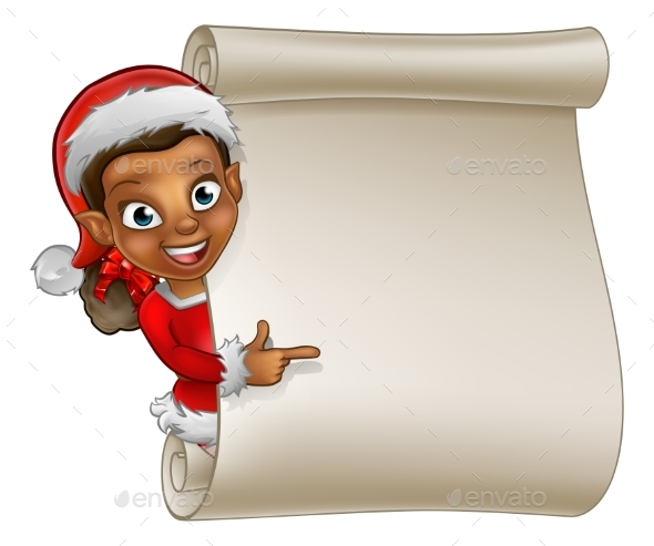 Christmas Scroll Elf Cartoon - Christmas Seasons/Holidays