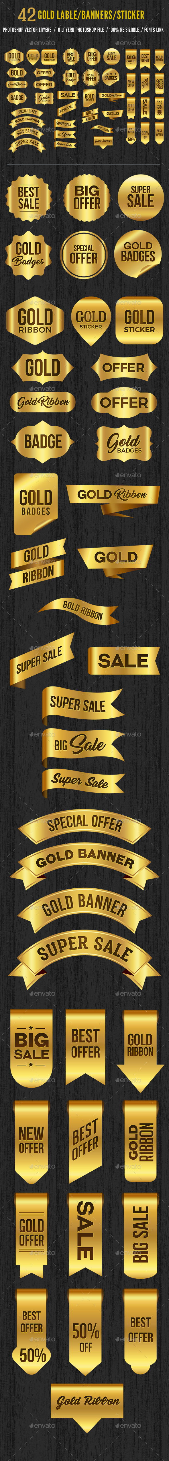 42 Gold Label Banner Sticker Ribbons Set - Badges & Stickers Web Elements