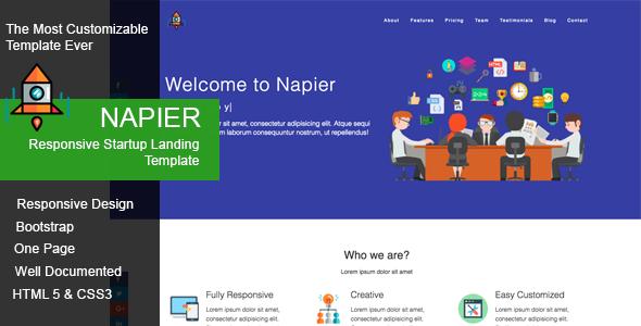 Napier – Responsive Startup Landing Template