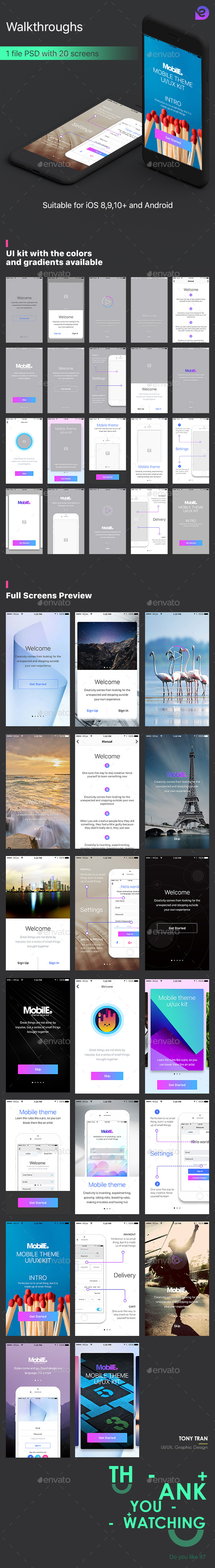 Mobile Theme UI Kit | Walkthroughs - User Interfaces Web Elements
