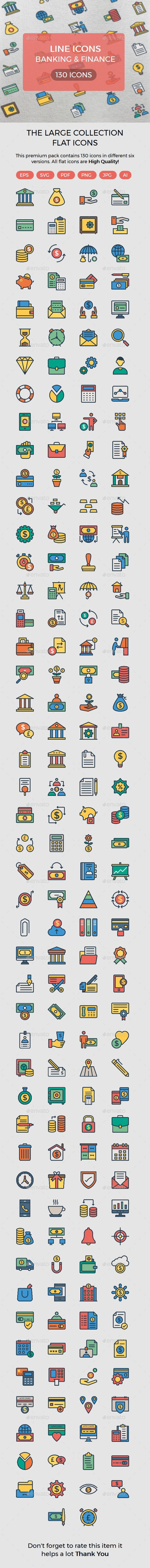 Banking and Finance Colors line - Icons