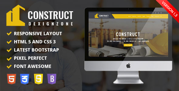Construct : Construction, Building & Maintenance Business Template - Corporate Site Templates