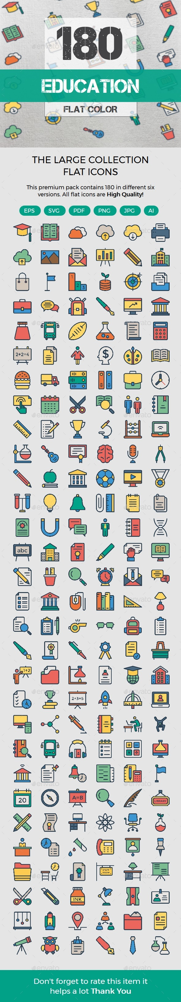 Education Color Line Icons - Business Icons