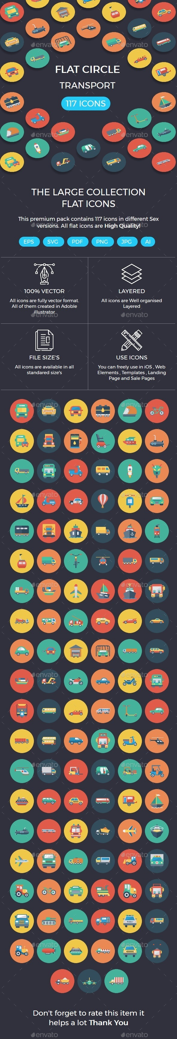 Transport Flat Circle Icons - Business Icons