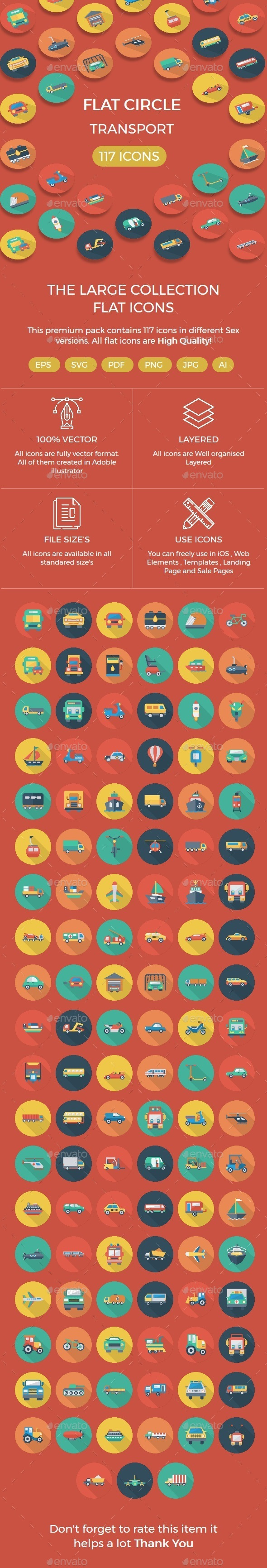 Transport Flat Circle with shadow - Business Icons