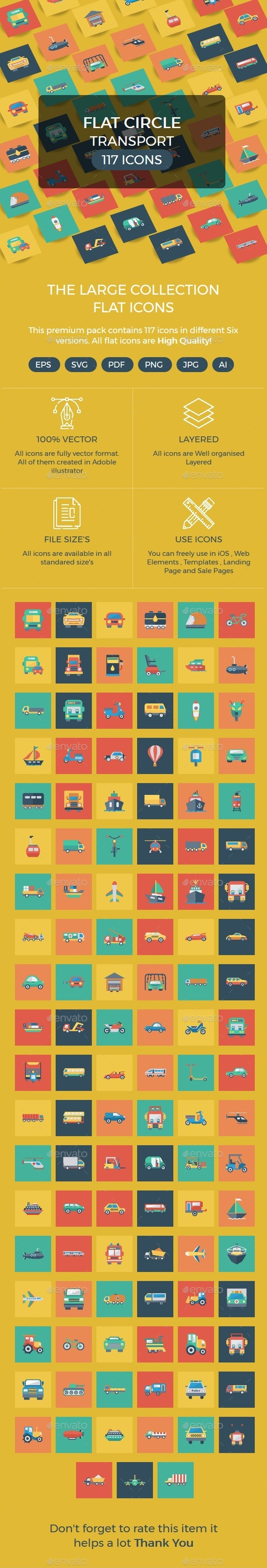 Transport Flat Square icons - Business Icons
