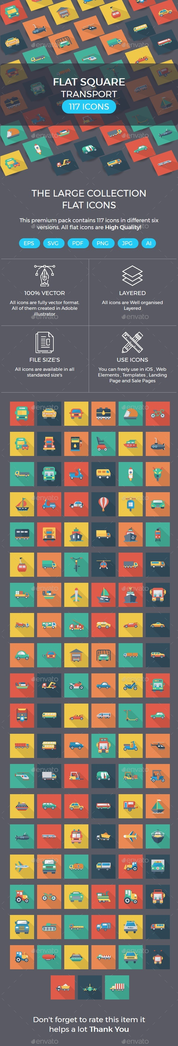 Transport Flat Square Shadow icons - Business Icons