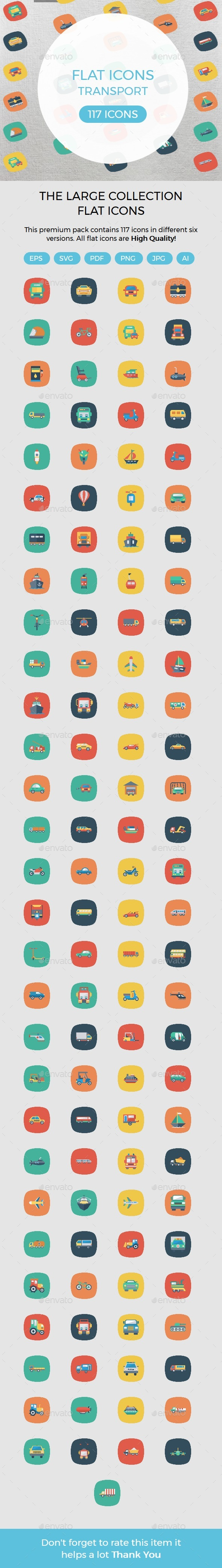 Transport Flat Square Rounded Icons - Icons