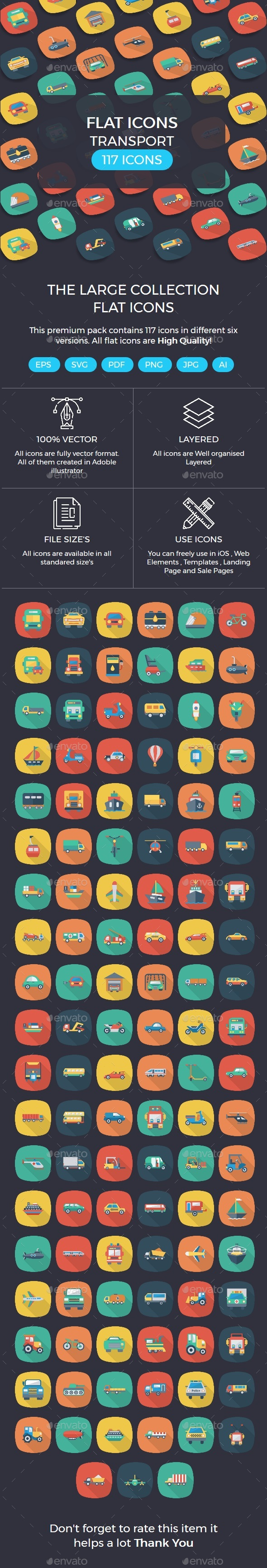 Transport Flat Square Rounded Icons with shadow - Icons