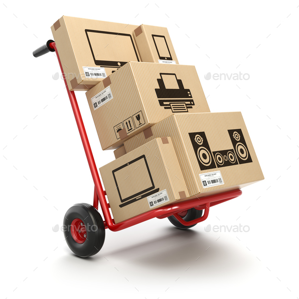 Sale and delivery of computer technics concept. Hand truck and c - Stock Photo - Images